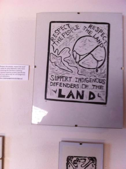 """Respect the people, respect the land"" – made for land-defenders who were protesting the Northern Gateway proposed pipeline project specifically and more generally for all Indigenous land-defenders. http://pipeupagainstenbridge.ca/"